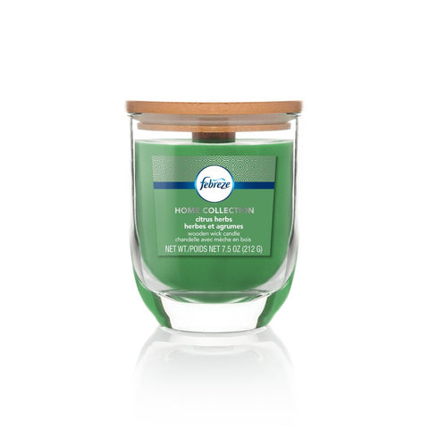Febreze Home Collection Scented Jar Candle, Citrus Herb, 7.5 oz, Single - Febreze Home Collection