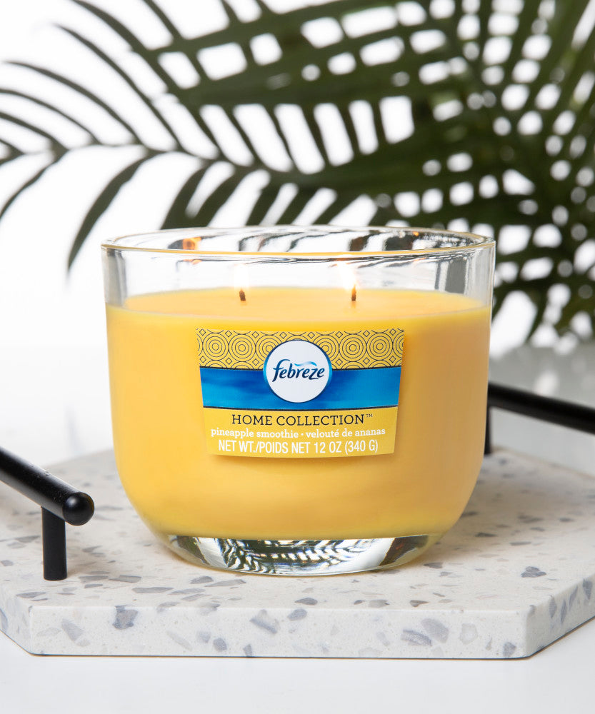 Febreze Home Collection Scented Jar Candle, Pineapple Smoothie, 12 oz, Single - Febreze Home Collection