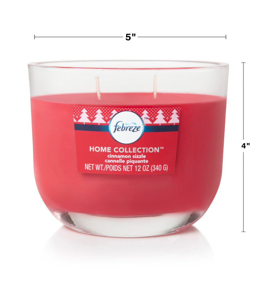 Febreze Home Collection Scented Jar Candle, Cinnamon Sizzle, 12 oz, Single - Febreze Home Collection