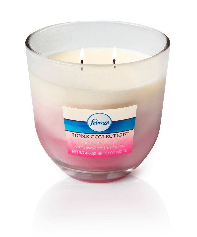 Febreze Home Collection Scented Jar Candle, Candy Carnival, 17 oz, Single - Febreze Home Collection
