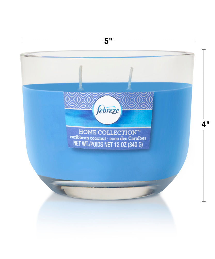 Febreze Home Collection Scented Jar Candle, Caribbean Coconut, 12 oz, Single - Febreze Home Collection