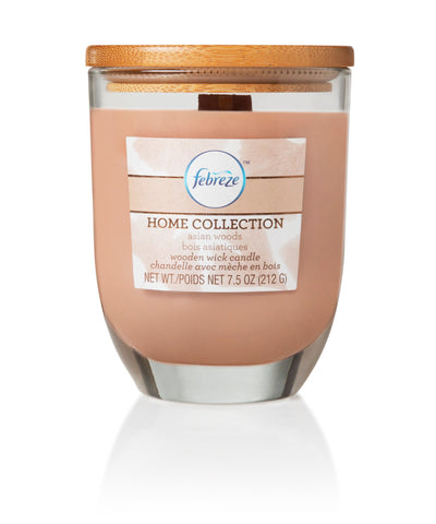 Febreze Home Collection Scented Jar Candle, Asian Woods, 7.5 oz, Single - Febreze Home Collection