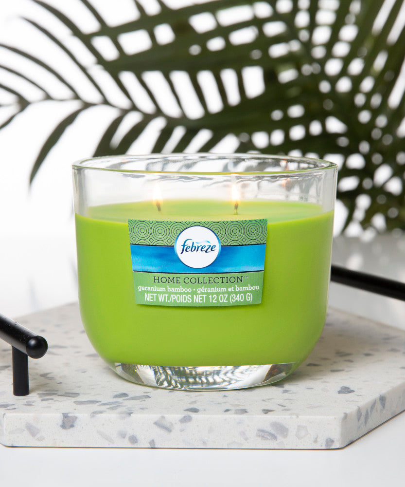 Febreze Home Collection Scented Jar Candle, Geranium Bamboo, 12 oz, Single - Febreze Home Collection