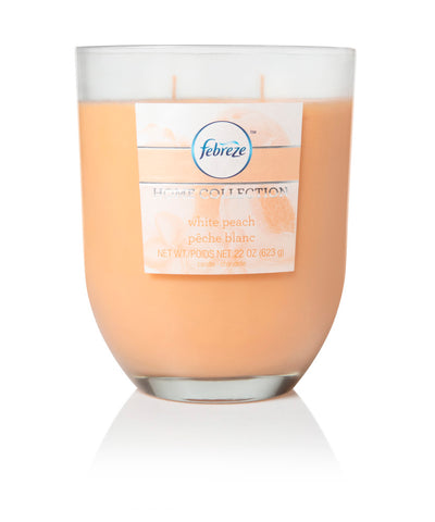 Febreze Home Collection Scented Jar Candle, White Peach, 22 oz, Single - Febreze Home Collection
