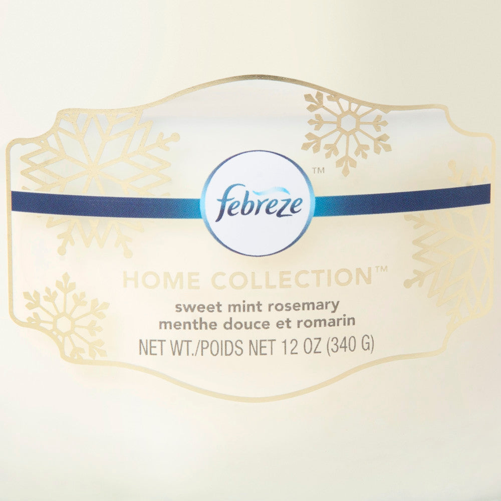 Febreze Home Collection Scented Jar Candle, Peppermint Rosemary, 12 oz, Single - Febreze Home Collection