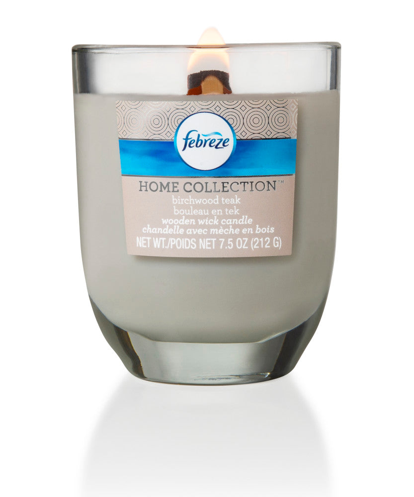 Febreze Home Collection Scented Jar Candle, Birchwood Teak, 7.5 oz, Single - Febreze Home Collection