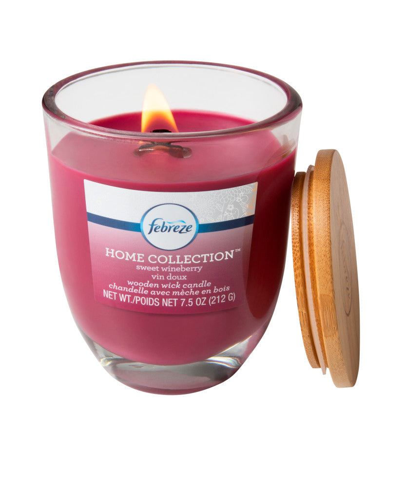 Febreze Home Collection Scented Jar Candle, Sweet Wineberry, 7.5 oz, Single - Febreze Home Collection