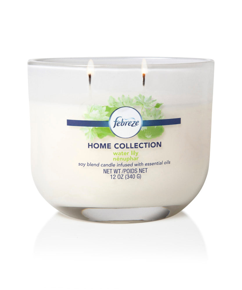 Febreze Home Collection Scented Jar Candle, Water Lily, 12 oz, Single - Febreze Home Collection