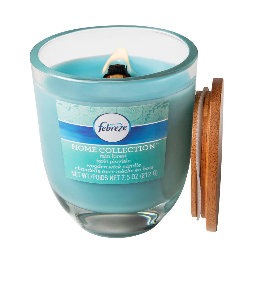 Febreze Home Collection Scented Jar Candle, Rain Forest, 7.5 oz, Single - Febreze Home Collection
