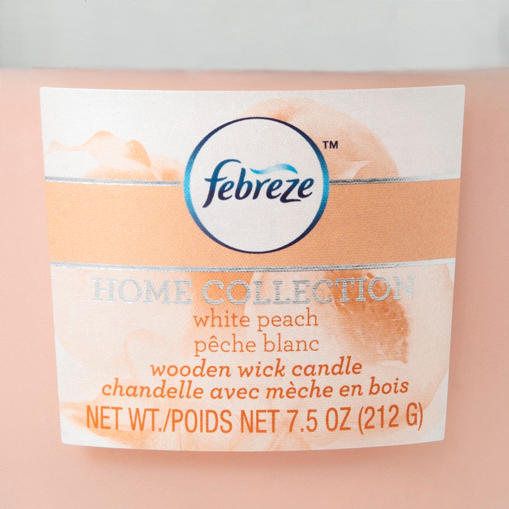 Febreze Home Collection Scented Jar Candle, White Peach, 7.5 oz, Single - Febreze Home Collection
