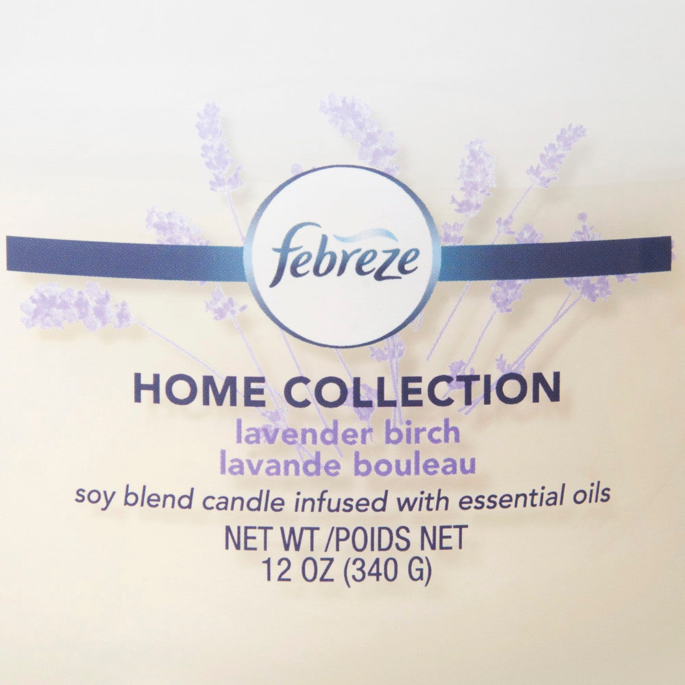 Febreze Home Collection Scented Jar Candle, Lavender Birch, 12 oz, Single - Febreze Home Collection