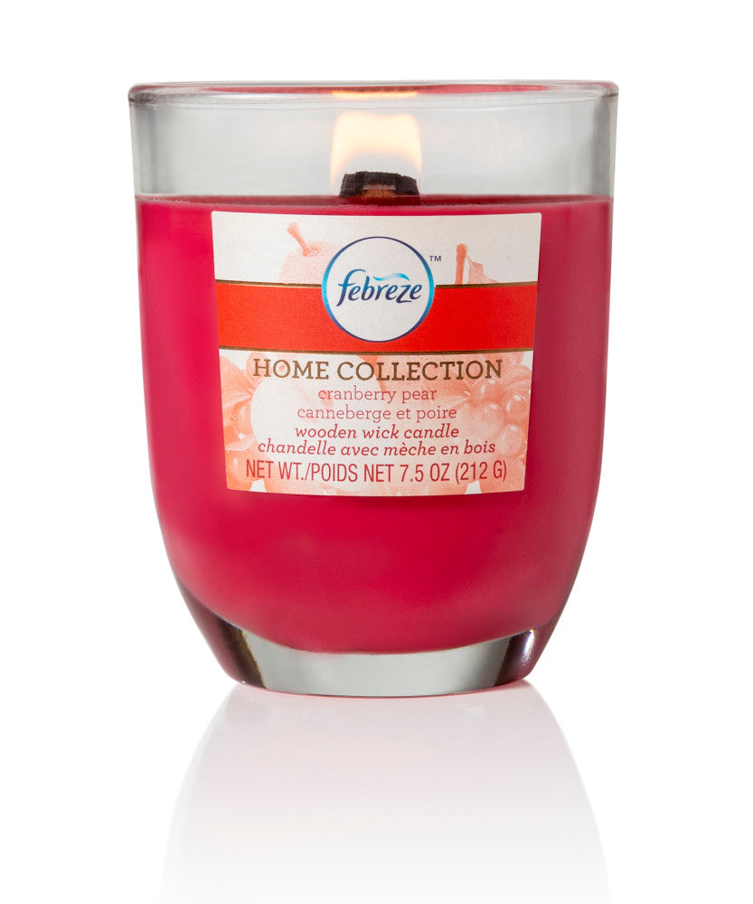 Febreze Home Collection Scented Jar Candle, Cranberry Pear, 7.5 oz, Single - Febreze Home Collection