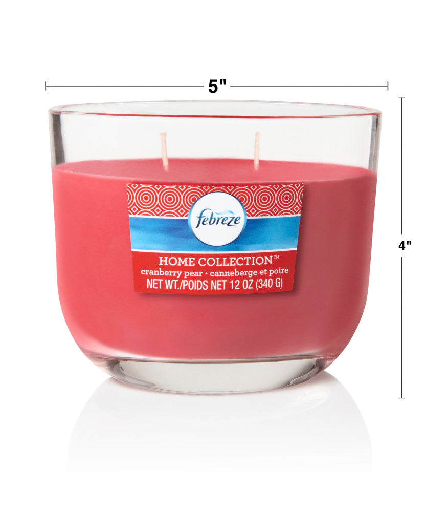 Febreze Home Collection Scented Jar Candle, Cranberry Pear, 12 oz, Single - Febreze Home Collection