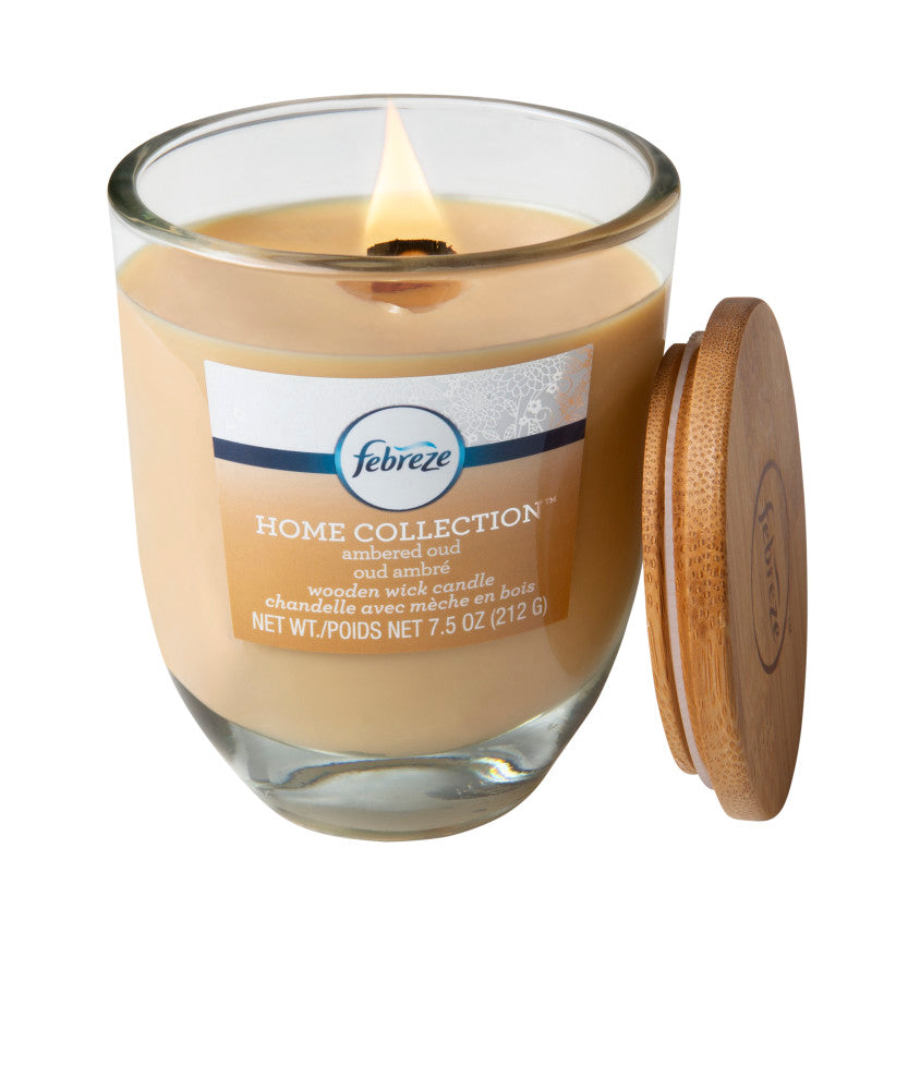Febreze Home Collection Scented Jar Candle, Ambered Oud, 7.5 oz, Single - Febreze Home Collection