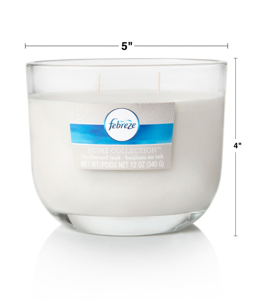 Febreze Home Collection Scented Jar Candle, Birchwood Teak, 12 oz, Single - Febreze Home Collection