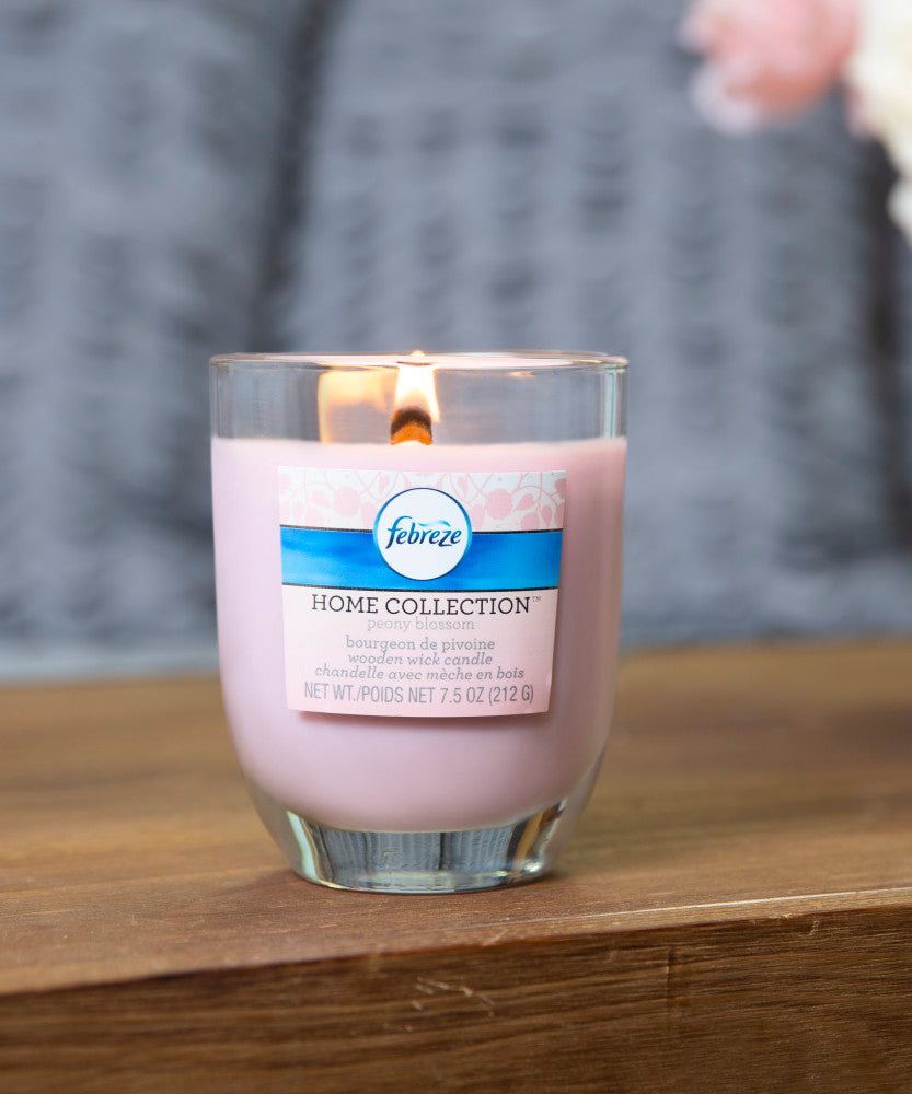 Febreze Home Collection Scented Jar Candle, Peony Blossom, 7.5 oz, Single - Febreze Home Collection