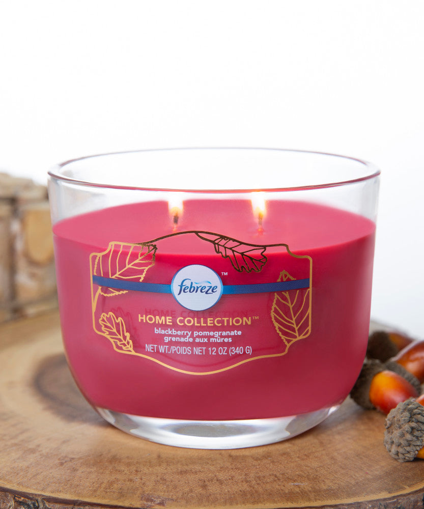 Febreze Home Collection Scented Jar Candle, Blackberry Pomegranate, 12 oz, Single - Febreze Home Collection