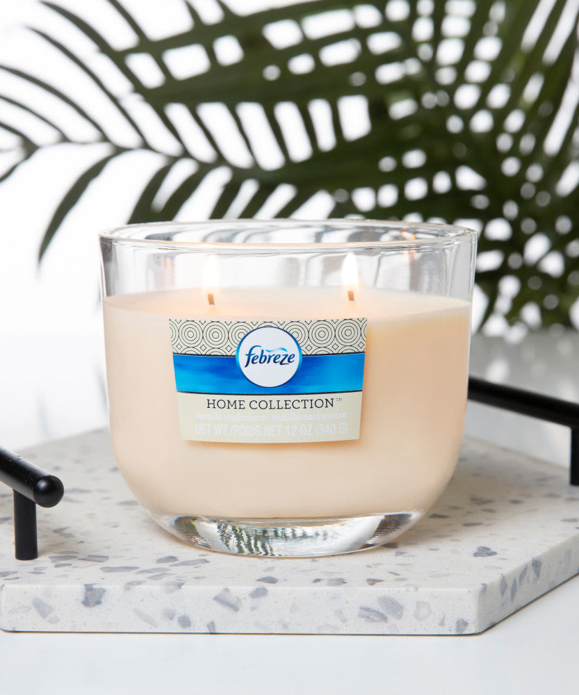 Febreze Home Collection Scented Jar Candle, Vanilla Cashmere, 12 oz, Single - Febreze Home Collection