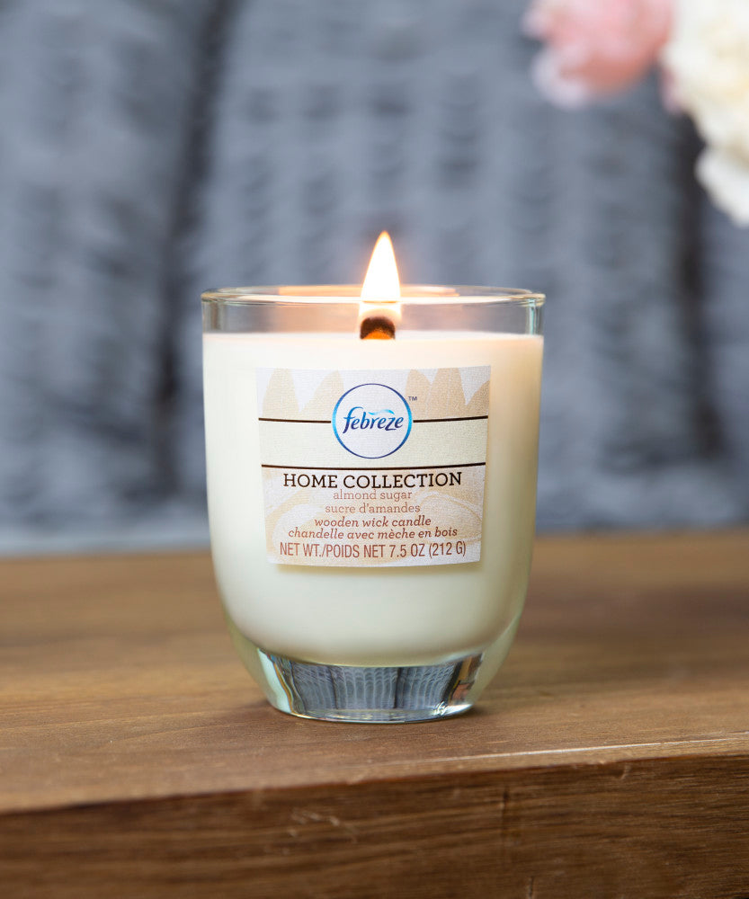 Febreze Home Collection Scented Jar Candle, Almond Sugar, 7.5 oz, Single - Febreze Home Collection