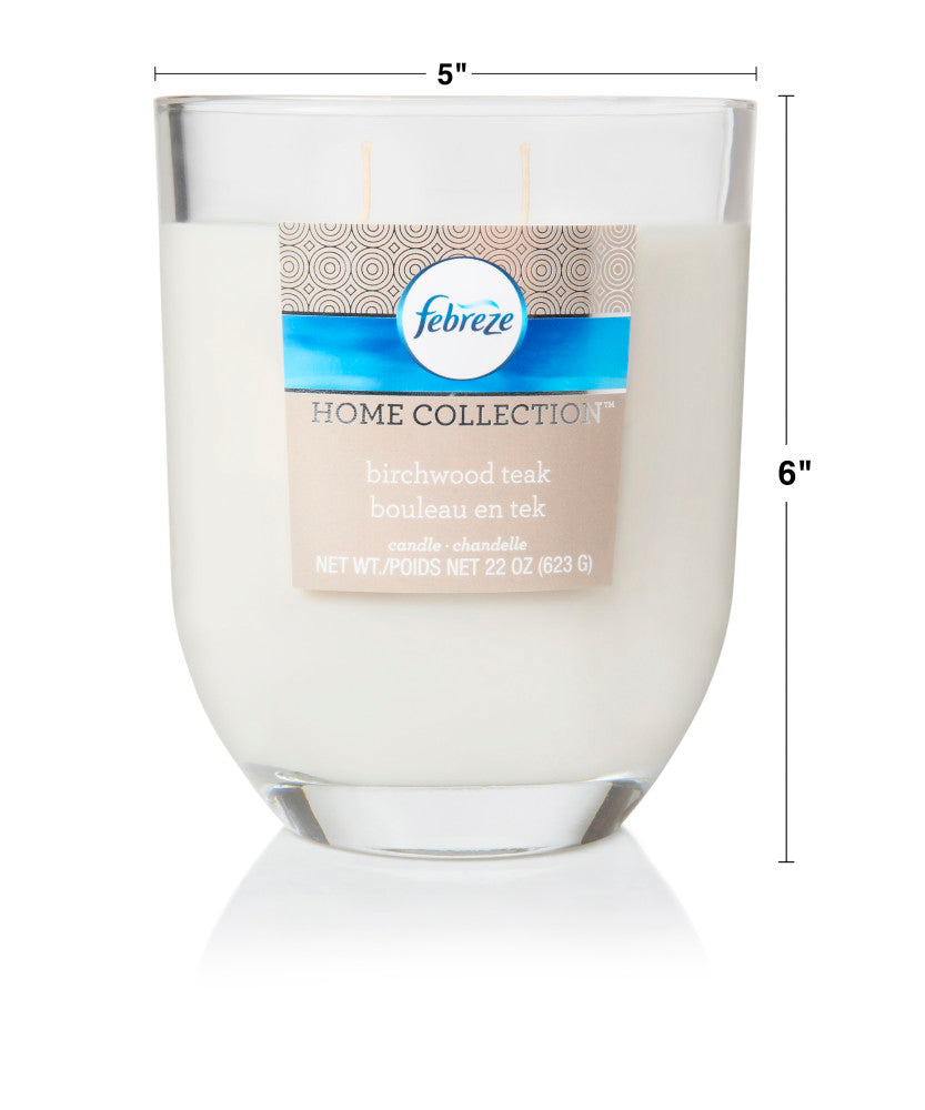 Febreze Home Collection Scented Jar Candle, Birchwood Teak, 22 oz, Single - Febreze Home Collection