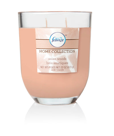 Febreze Home Collection Scented Jar Candle, Asian Woods, 22 oz, Single - Febreze Home Collection