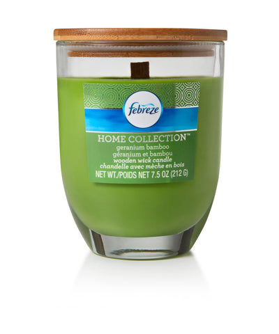 Febreze Home Collection Scented Jar Candle, Geranium Bamboo, 7.5 oz, Single - Febreze Home Collection