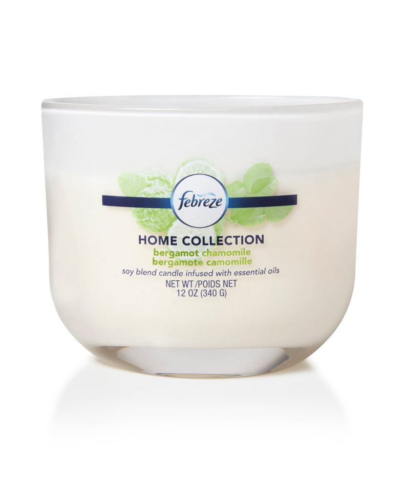 Febreze Home Collection Scented Jar Candle, Bergamot Chamomile, 12 oz, Single - Febreze Home Collection