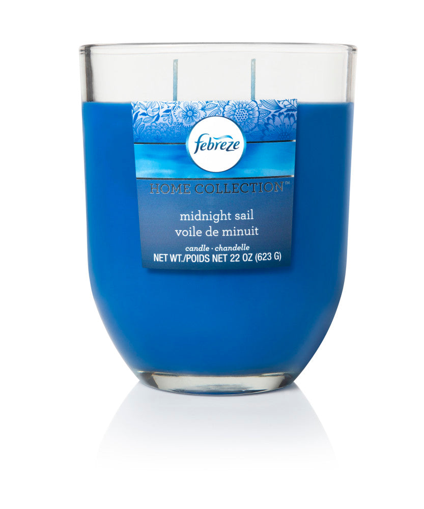 Febreze Home Collection Scented Jar Candle, Midnight Sail, 22 oz, Single - Febreze Home Collection