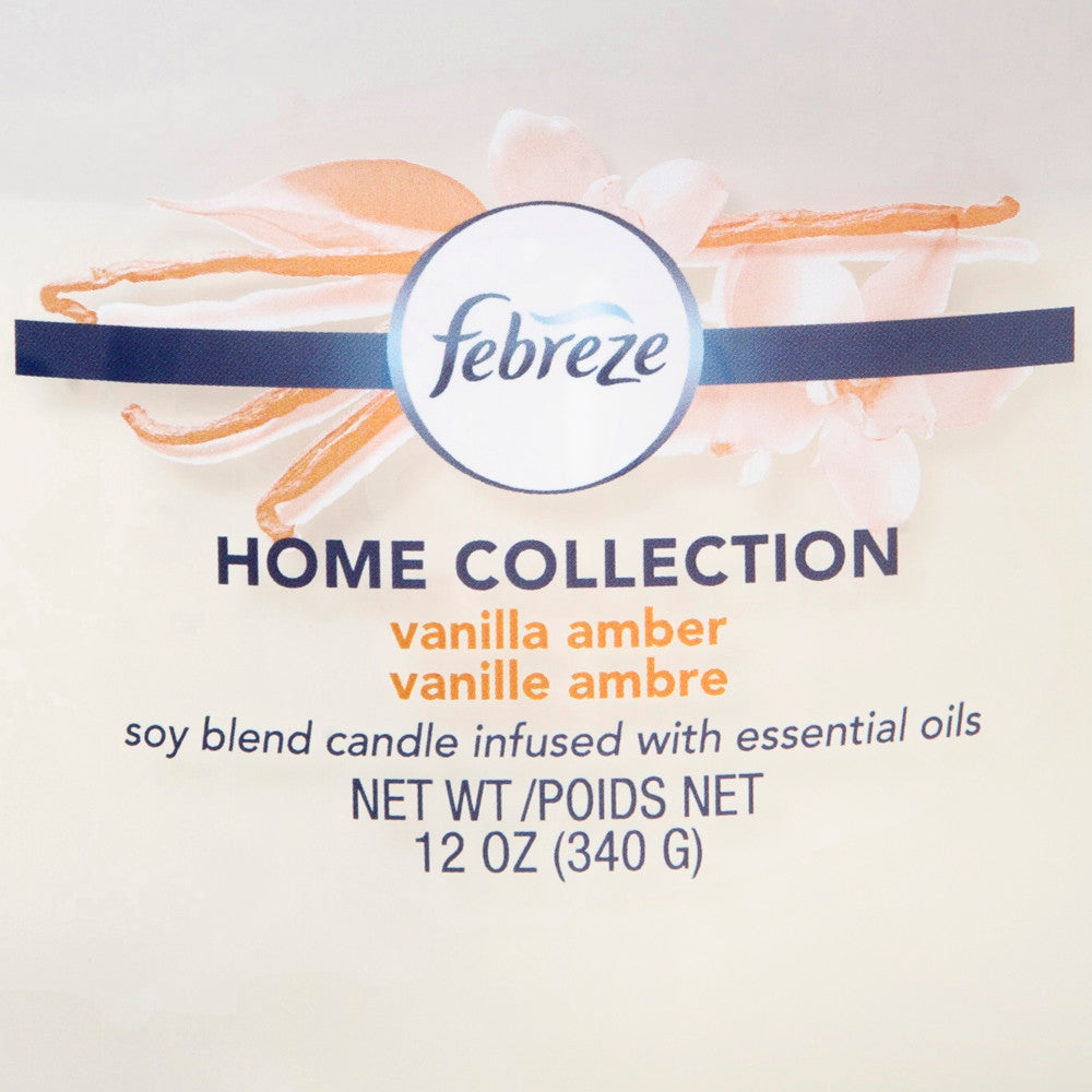 Febreze Home Collection Scented Jar Candle, Vanilla Amber, 12 oz, Single - Febreze Home Collection