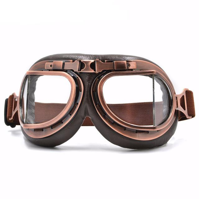 c89ad98e858 Clear Lens Leather Vintage Retro Aviator Motorcycle   Biker Goggles For  Your Helmet That Fit Over