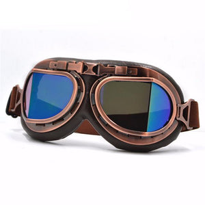 UV Blue Lens Leather Vintage Retro Aviator Motorcycle & Biker Goggles For Your Helmet That Fit Over Your Glasses And Eyeglasses Are On Sale & Discounted Today! Get Yours!