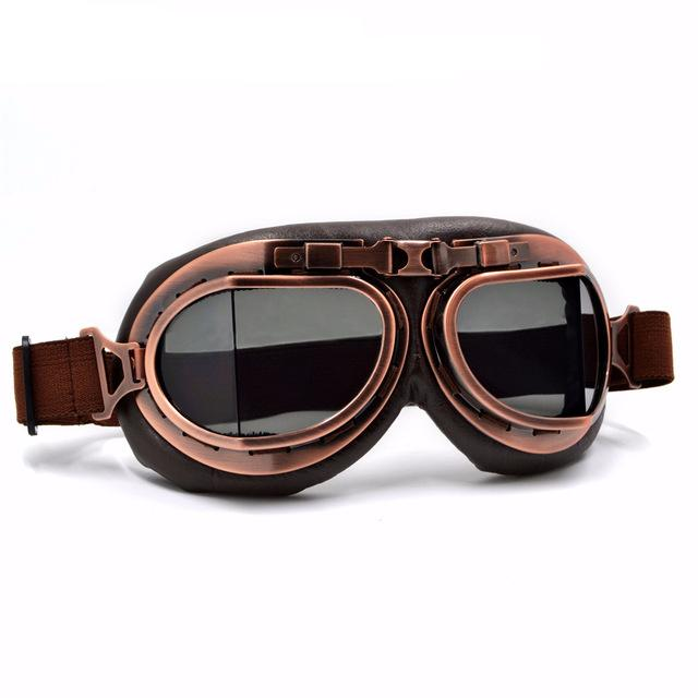 Smoked Lens Leather Vintage Retro Aviator Motorcycle & Biker Goggles For  Your Helmet That Fit Over
