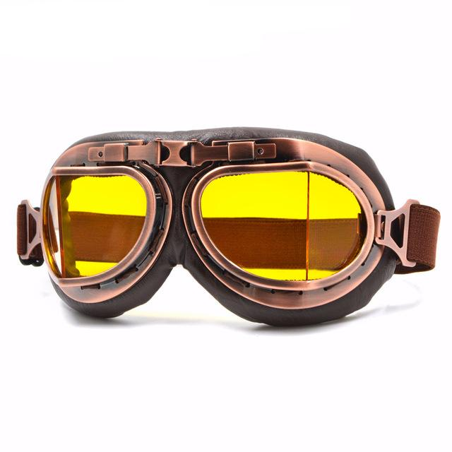 Yellow Lens Leather Vintage Retro Aviator Motorcycle & Biker Goggles For Your Helmet That Fit Over Your Glasses And Eyeglasses Are On Sale & Discounted Today! Get Yours!