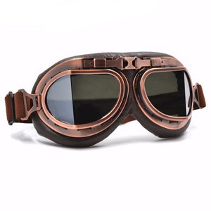 bf5e5c9f2e3 Mirror Lens Leather Vintage Retro Aviator Motorcycle   Biker Goggles For  Your Helmet That Fit Over