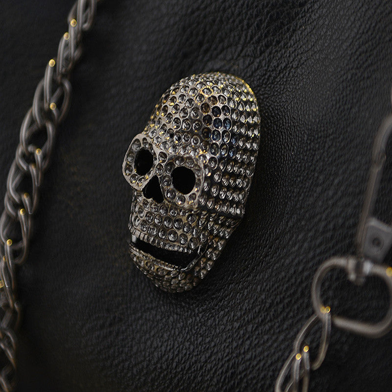 Designer Leather Skull Head Rivets Handbag