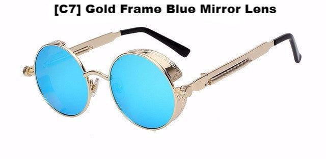 Gold and Blue Steampunk Sunglasses