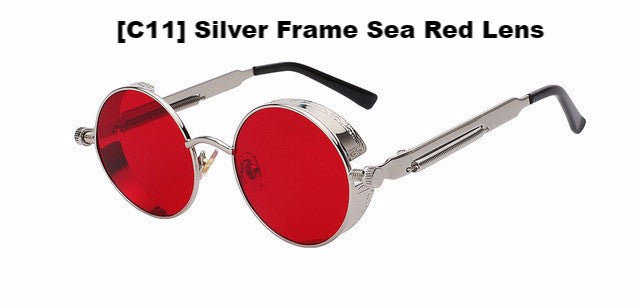 Silver and Red Steampunk Sunglasses