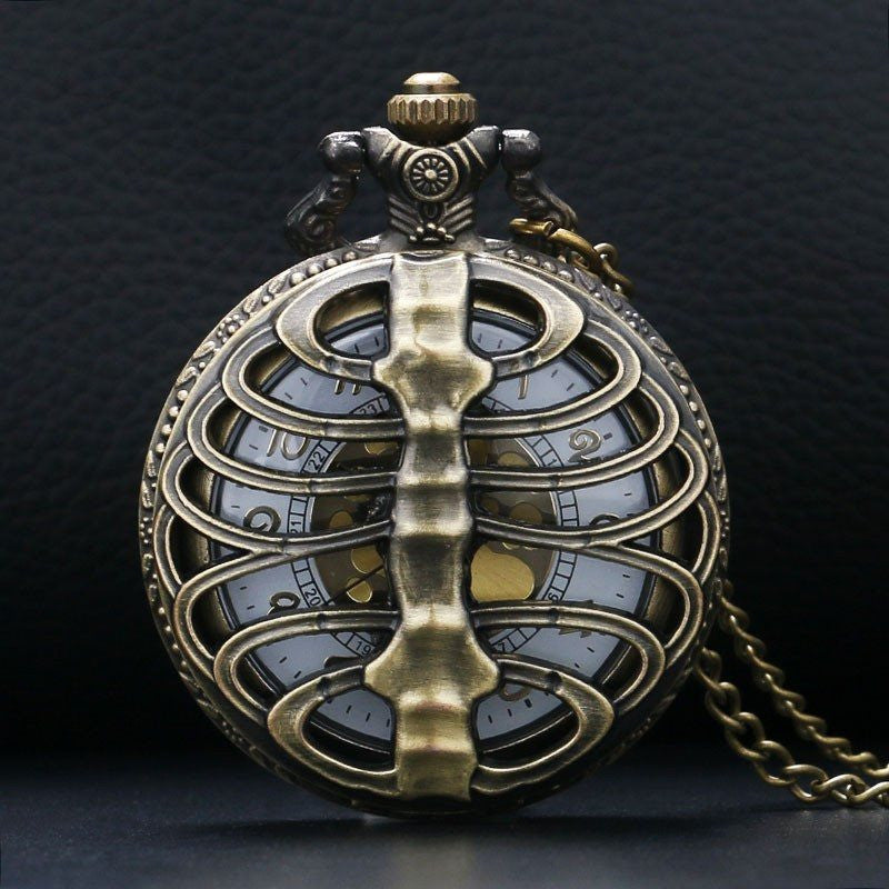 Steampunk Skeleton Ribs Pocket Watch