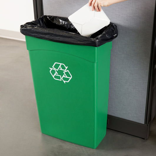 Trash Can -- Continental 8322-2 23 Gallon Green Wall Hugger Recycling Trash Can (2748322GN)