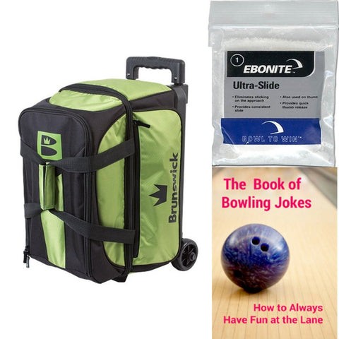 Brunswick Blitz Double Roller Lime Bowling Bag