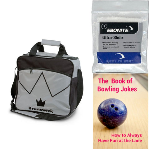 Bowling Bags - Brunswick Blitz Single Tote Silver + 2 Free Gifts