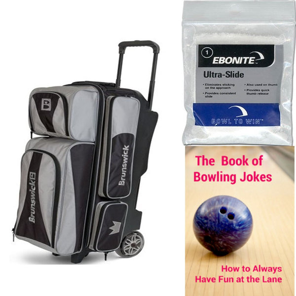 Brunswick Crown Triple Roller Silver Bowling Bag
