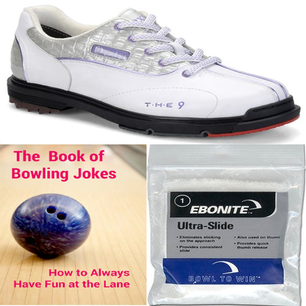 Dexter Women's THE 9 White/Silver Croc +2 Free Gifts Bowling Shoes
