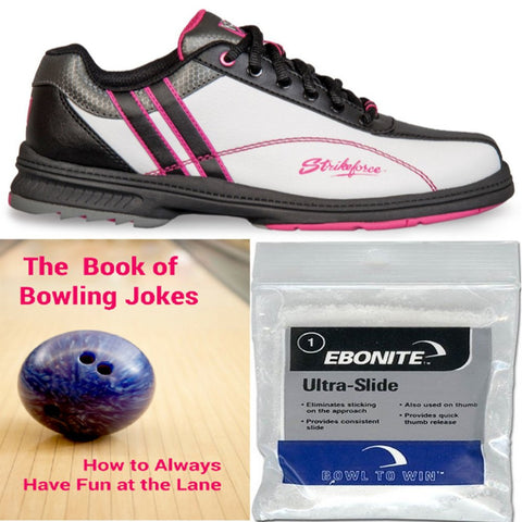 KR Strikeforce Women's Starr Wide White/Black/Hot Pink Bowling Shoes