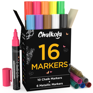 Chalkola Chalk Pens & Metallic Colors - Pack of 16 Chalk Markers