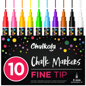 Chalk Pens - Pack of 10 Neon Colour Markers - 3mm Bullet Tip