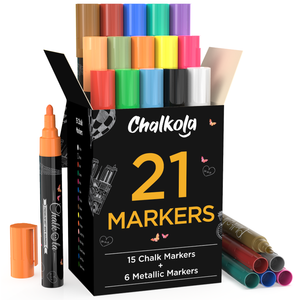 Chalkola Chalk Pens & Metallic Colors - Pack of 21 Chalk Markers