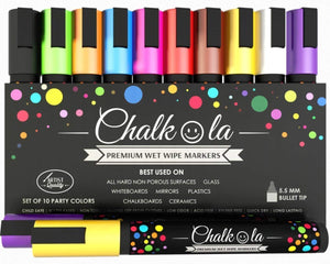Chalk Pens - Pack of 10 colour markers - 6 mm Bullet Tip