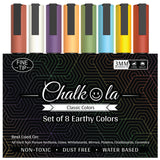 Chalkboard Chalk Markers - Pack of 8 Classic Earth Colors | 3mm Fine Nib