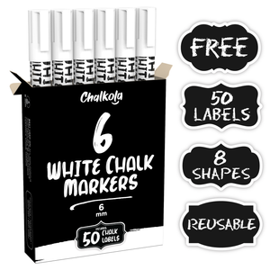 White Liquid Chalk Marker Pen - 6mm Reversible Tip (6 Pack) + 50 Chalkboard Labels